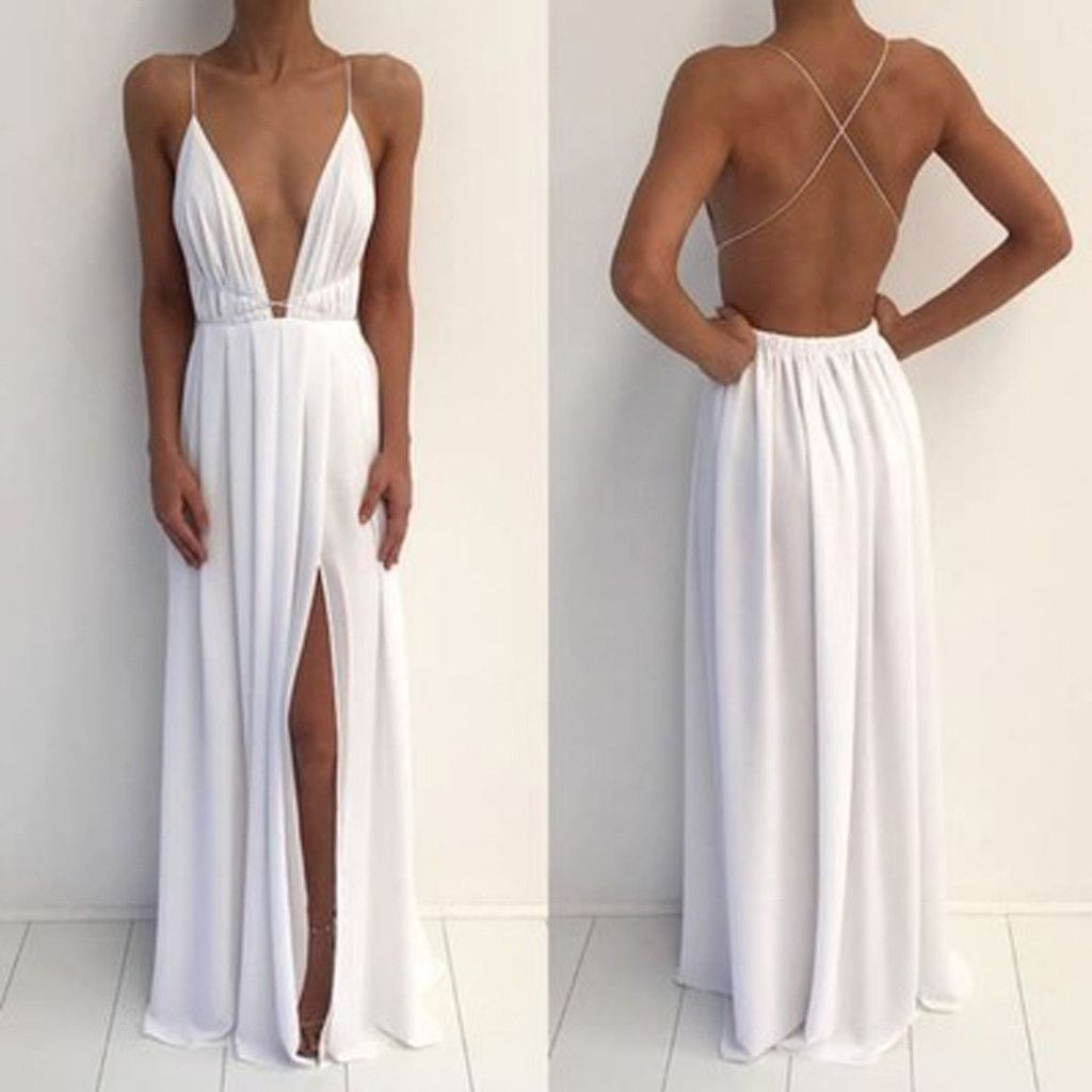 Sexy Deep V-Neck Spaghetti White Chiffon Side Slit Long Prom Dresses ...