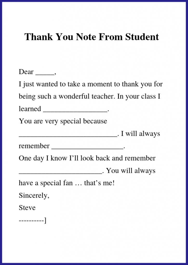 You Can See This Valid Thank You Letter format for Teacher