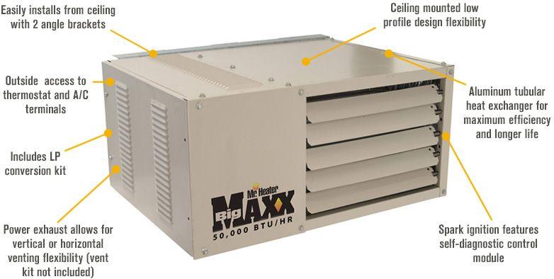 Features For Mr Heater Big Maxx Natural Gas Garage Workshop Unit