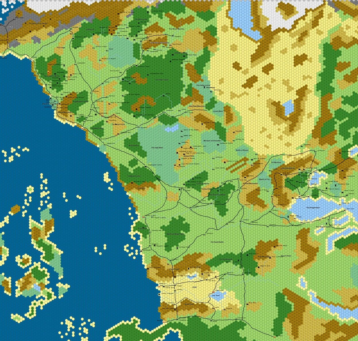 Hex map of The Sword Coast, Forgotten Realms  1hex = 10