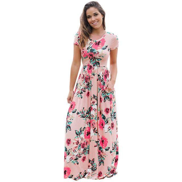 ef7f13d130d3 Boho Chic Short Sleeve Maxi Dress With Pockets