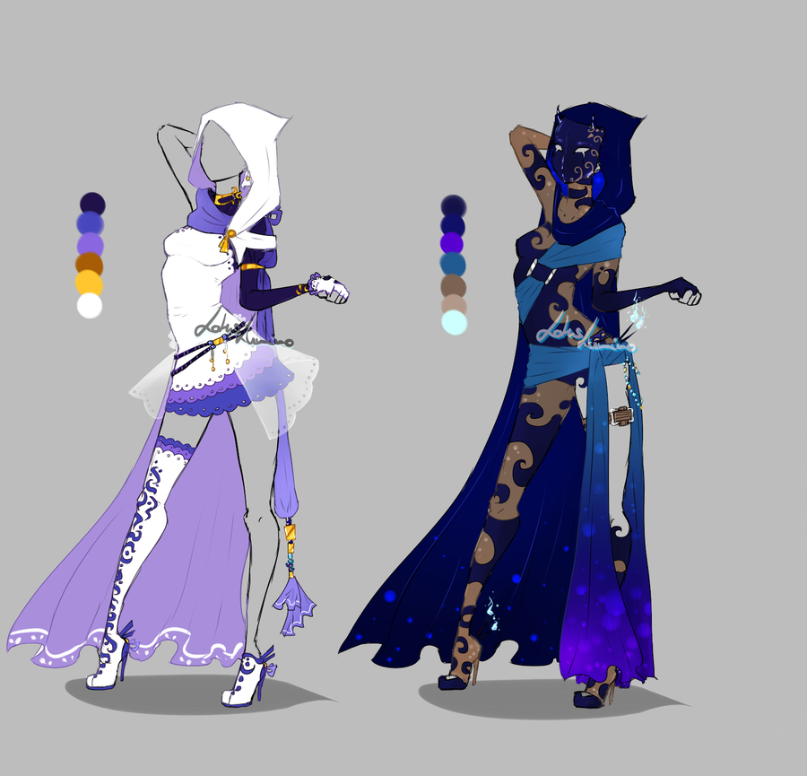 Outfit design - 215 - 216 - closed - hoods ver by LotusLumino on DeviantArt