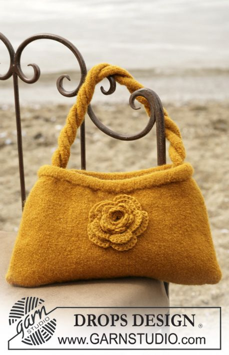 DROPS Felted bag with crochet flower in Alaska. | Knit ...