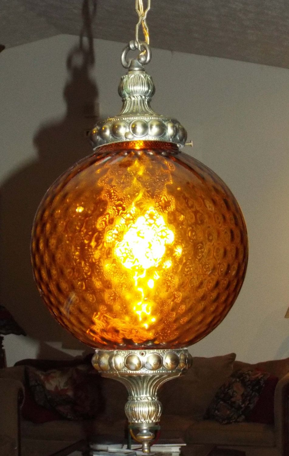 Lamp light fixture hanging swag pendant amber glass globe with