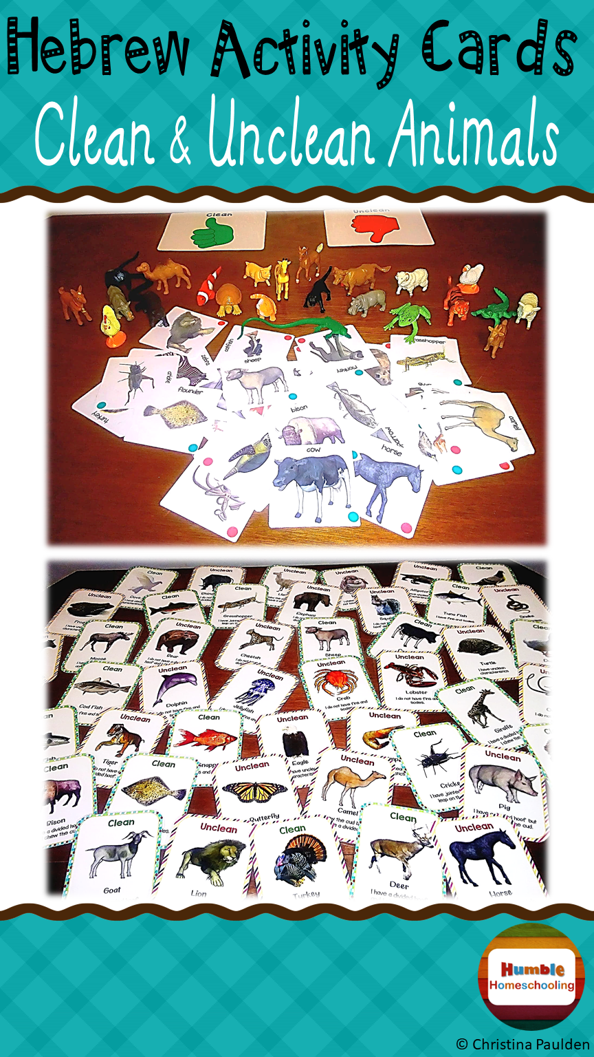 Hebrew Activity Cards - Clean / Unclean Animals | ***All things ...