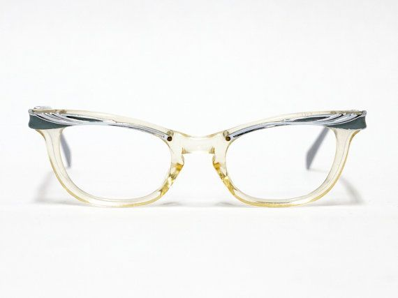 Vintage eyeglasses by American Optical - cat eye glasses - red dot - gray aluminium frame