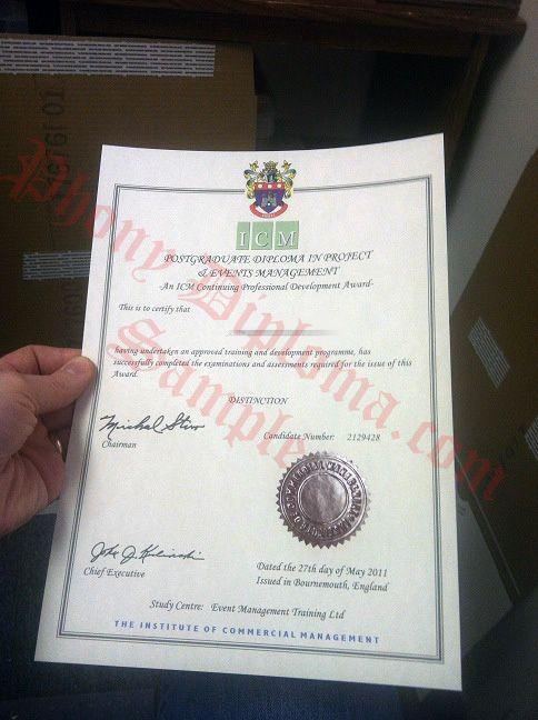 Institute of Commercial Management United Kingdom UK Fake Diploma - copy university diploma templates