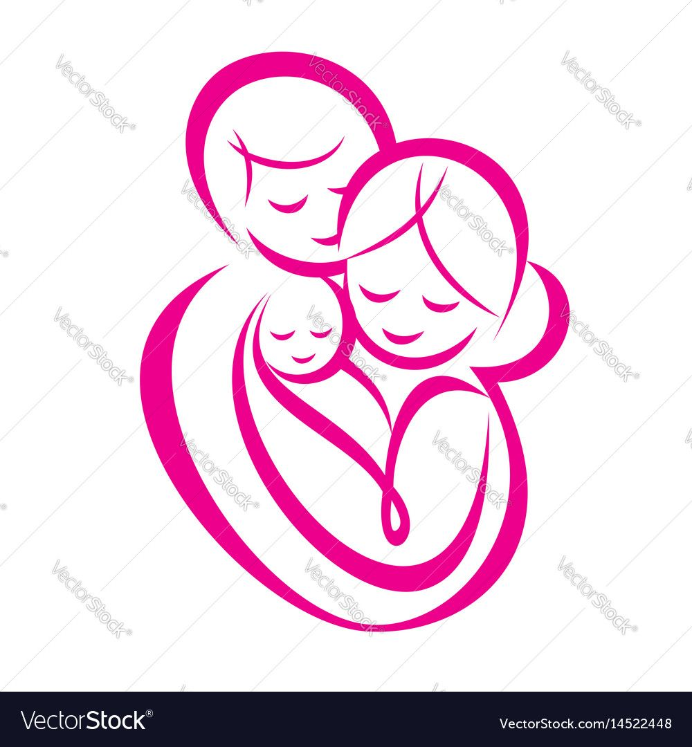 Happy Family Stylized Vector Symbol Young Parents And Baby