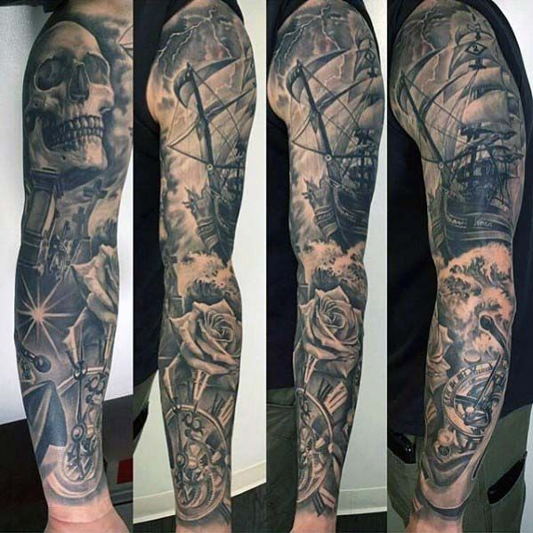 Awesome mens nautical sleeve tattoos forearm pinterest for Mens leg sleeve tattoo