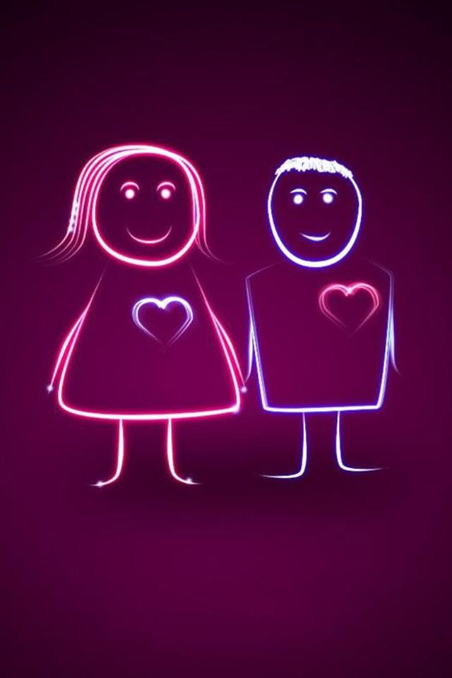Cute Heartbeating Lover Couple Iphone 4s Wallpapers Graffiti