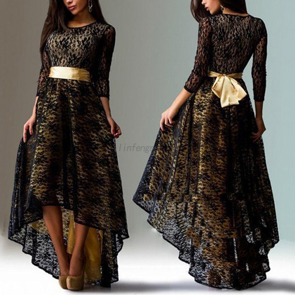 Nice amazing us women elegant formal irregular dress long sleeve