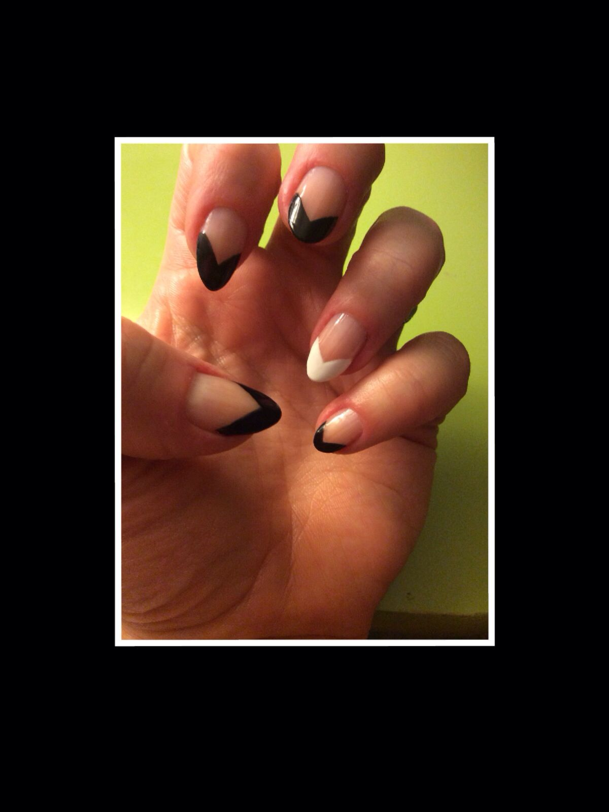 Black French tip nails stiletto nails pointed French tip almond ...