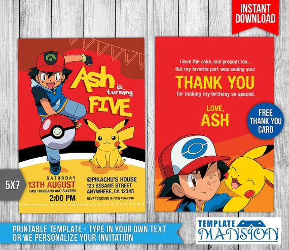 Pokemon Invitation Pokemon Birthday Invitation By TemplateMansion