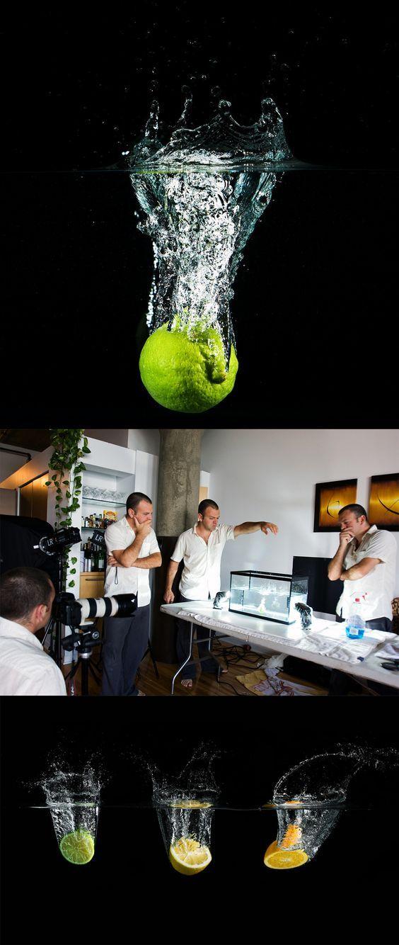 Geniales consejos de iluminación y fotografía  efectos de fotografía - fondo negro - pelota en agua