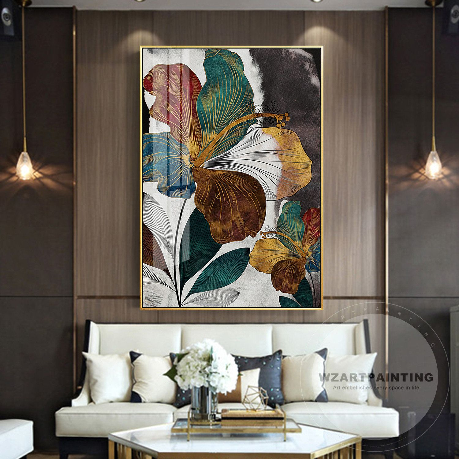 Modern Abstract Flower Gold Green Leaf Print Painting Cuadros Print Luxury Large On Canvas Wall Art Pictur Wall Art Living Room Canvas Wall Art Living Room Art