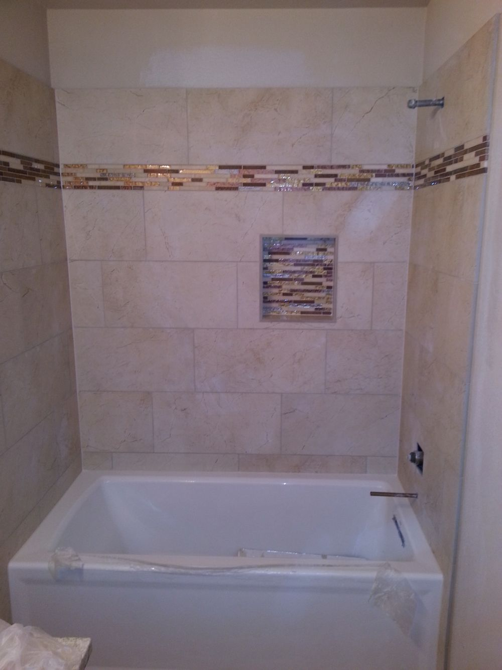 Atx tile built tub surround 12x24 inch tile stacked on thirds with recessed shampoo shelf 2015 - Tile shower surround ideas ...