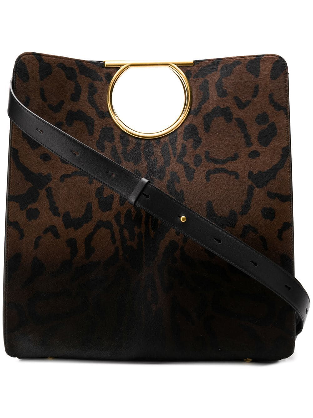 ece6dd003516 SALVATORE FERRAGAMO SALVATORE FERRAGAMO GANCINI LEOPARD PRINT TOTE - BROWN.   salvatoreferragamo  bags  shoulder bags  hand bags  leather  tote