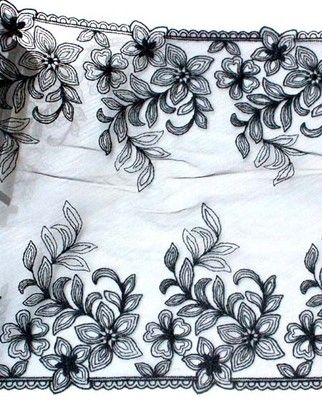 3yd Bilateral Black Tulle Lace Embroidered Flowers Venice Fabric Trim DIY L354   eBay