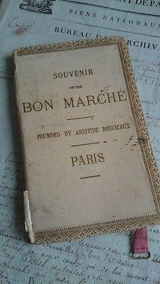 GORGEOUS ANTIQUE FRENCH AU BON MARCHE PARIS GUIDE BOOK & PARIS MAP c1900