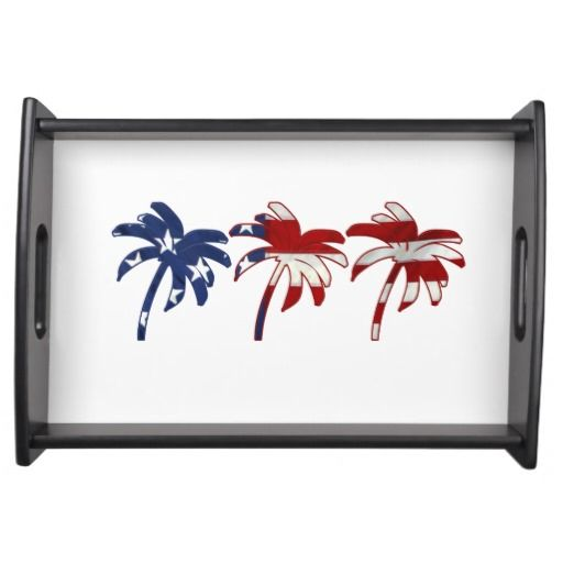 Red White Blue Palm Tree Serving Tray