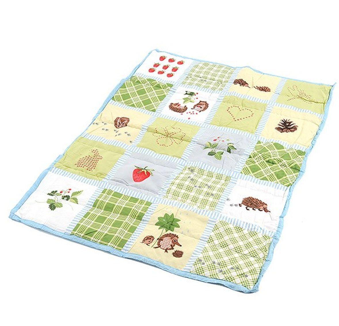 IKEA VANDRING RUTA Crib DUVET Comforter Blanket GREEN Hedgehog ...