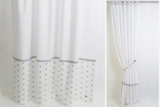 Grey White Stars Curtains Nursery Curtains White Nursery
