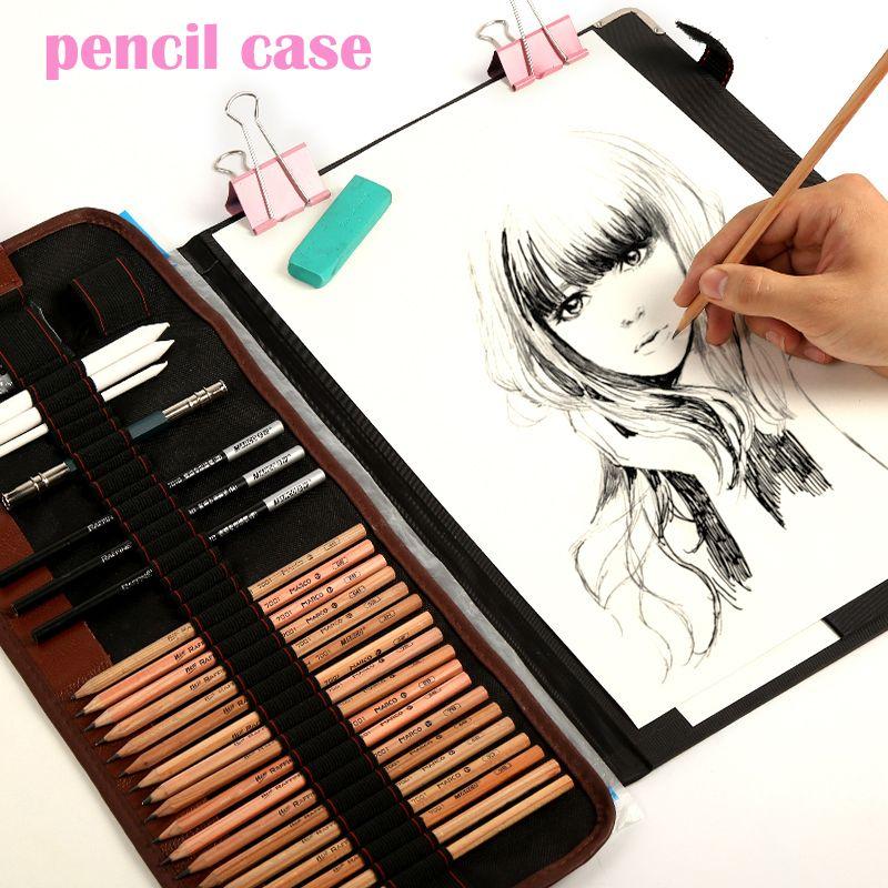 29pcs Set Portable Outdoor Drawing Art Supplies Sketch Pencils Case Charcoal Eraser Cutter Kit Bag Art Craft For Drawing Drawing Tools Art Kit Drawing Supplies