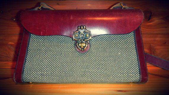 Vintage 1960's Etienne Aigner Tweed and Oxblood by KittyHawVintage, $88.00