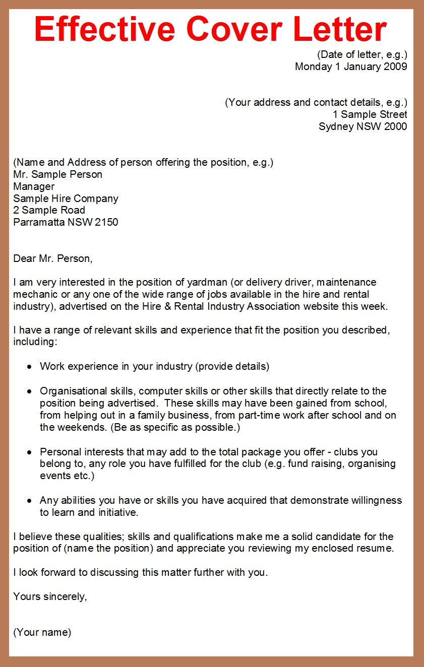 how to write a cover letter for a job application google search - Effective Cover Letter