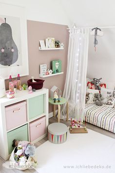 Kinderzimmerdeko in pastellfarben einrichten und wohnen - Kuschelecke kinderzimmer kleinkinder ...