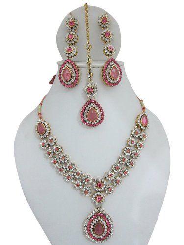 Amazoncom India Jewelry Gold Tone Rose Kundan Necklace Earrings