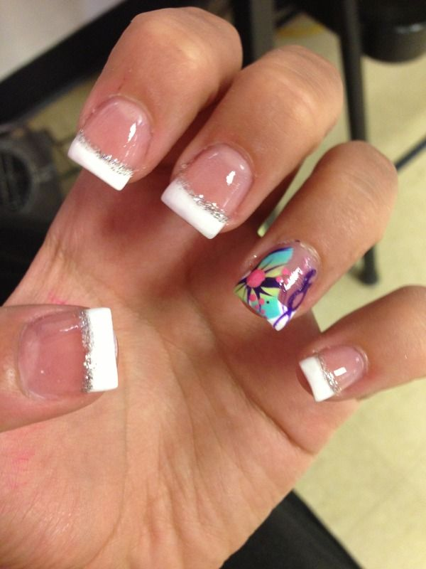 Wonderful French White Nail Design Ideas with Colorful Flower Polish ...