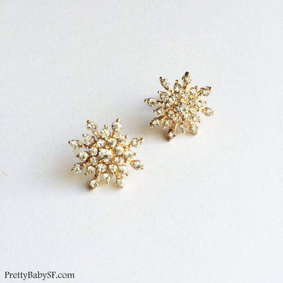 Snowflake Earring Rose Gold Jewelry Winter Wedding