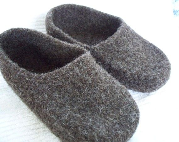 8807d766844a7 Felted Brown Wool Slippers wool shoes custom order felted wool ...