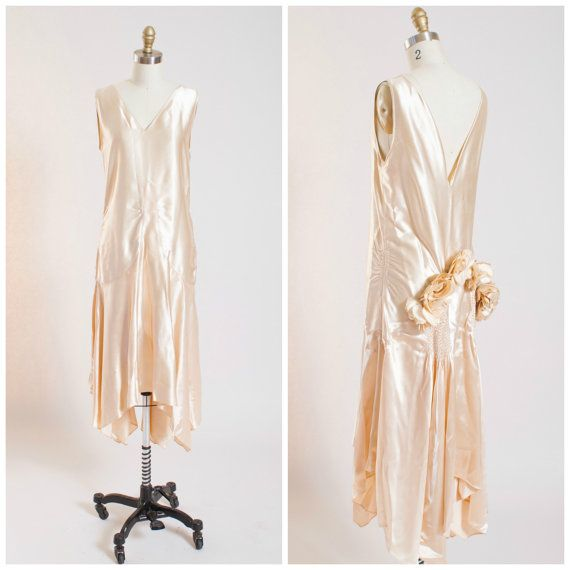 1920s Vintage Dress • Bridal Belle • Creamy Liquid Silk Satin ...