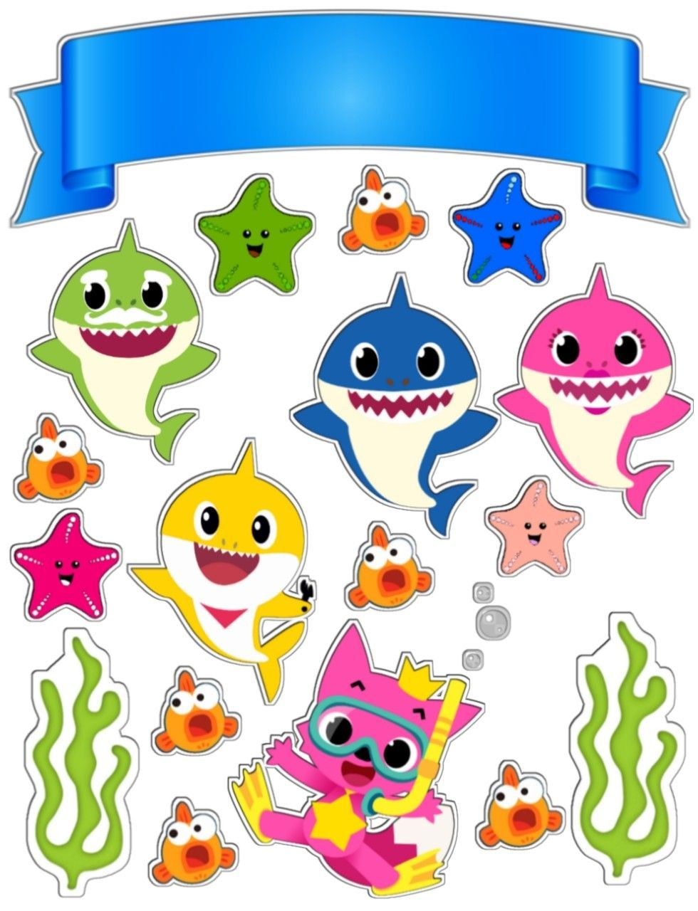 Baby Shark Family Stickers 100 Stickers per Pack