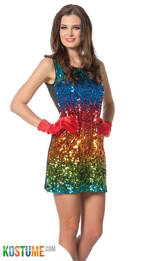 Regenbogen Pailletten Kleid für Damen | Pailletten kleid ...