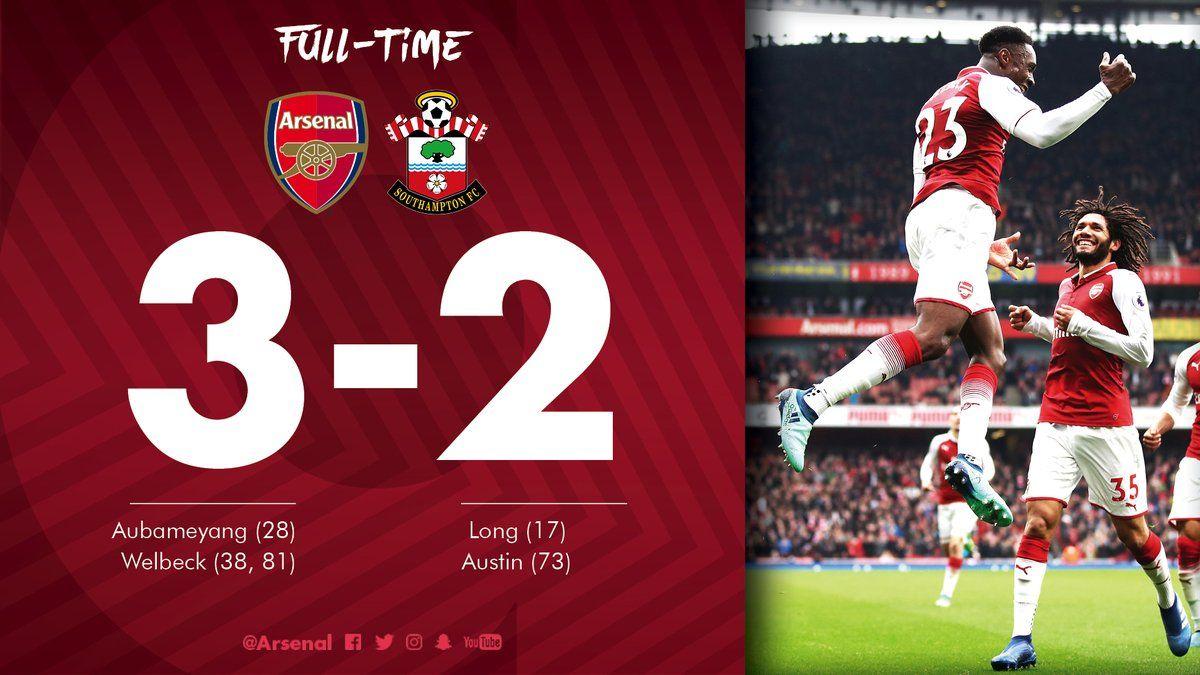 Arsenal Vs Southampton 3 2 Highlights Video Download In 2020 Premier League Premier League Highlights Arsenal