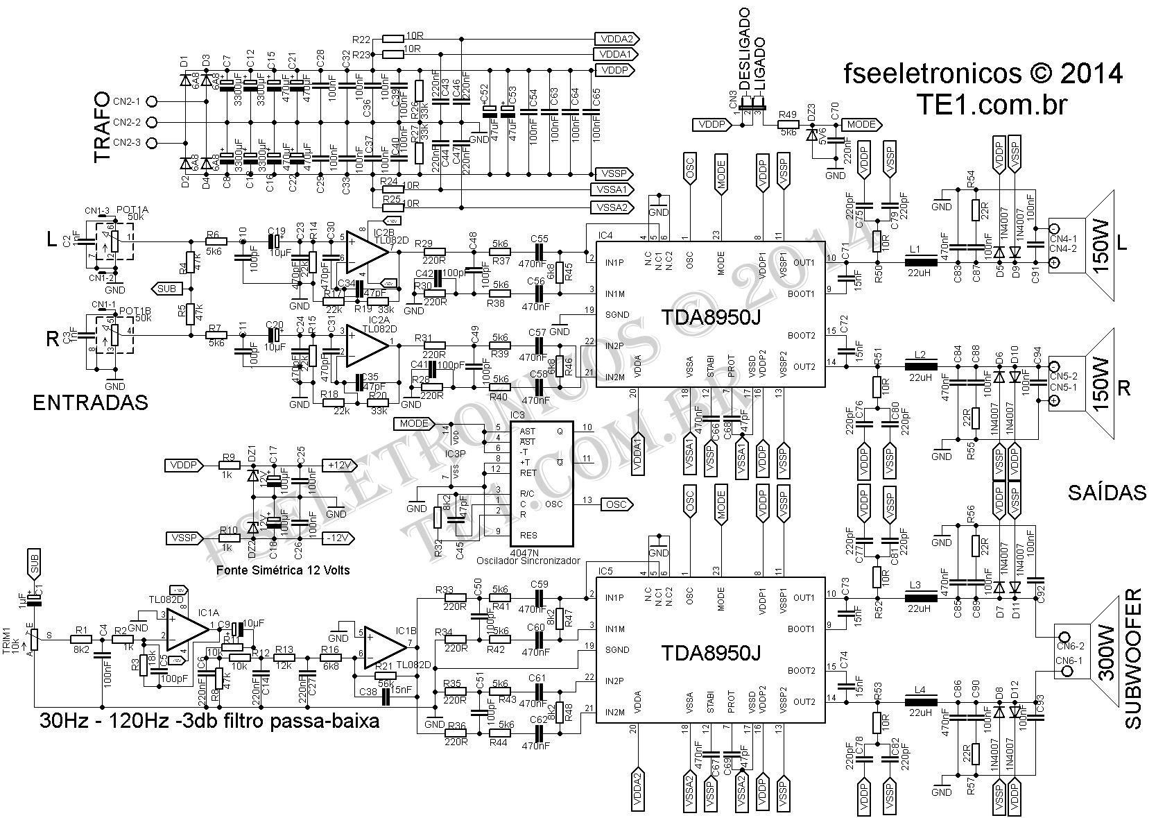 Circuito Amplificador Classe D 2 1 Canais 2 170 300w
