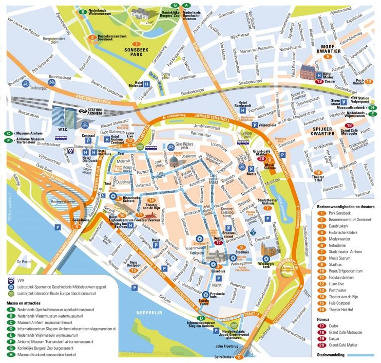 Arnhem tourist map | Maps | Pinterest | Tourist map, Arnhem and City