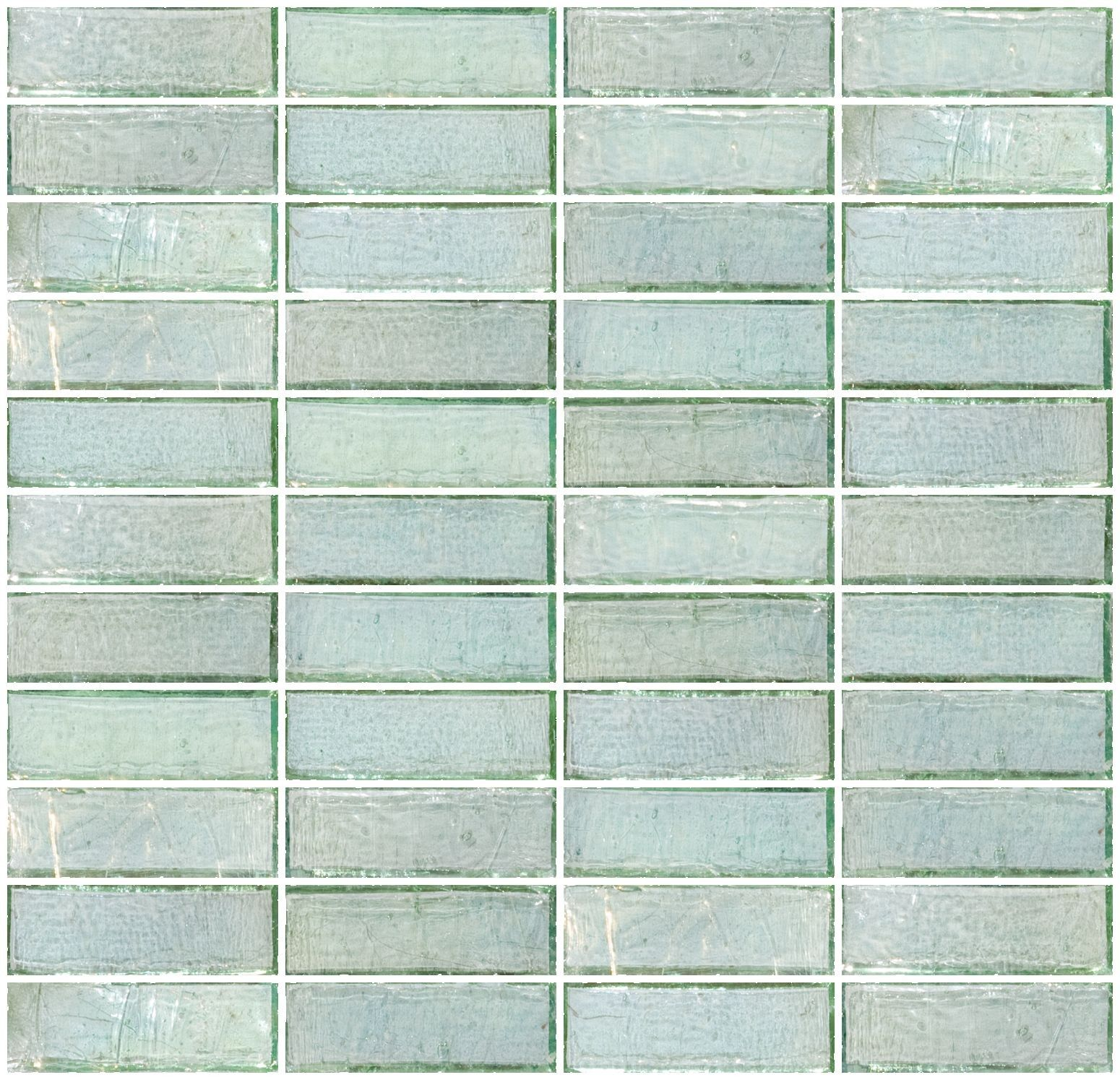 - 1x3 Inch Green Iridescent Glass Subway Tile Stacked Glass