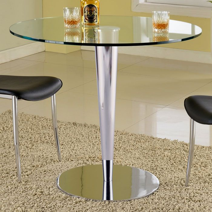 Grand Contemporary Dining Table Round Glass Top Chrome Base Glass Round Dining Table Chintaly Dining Table