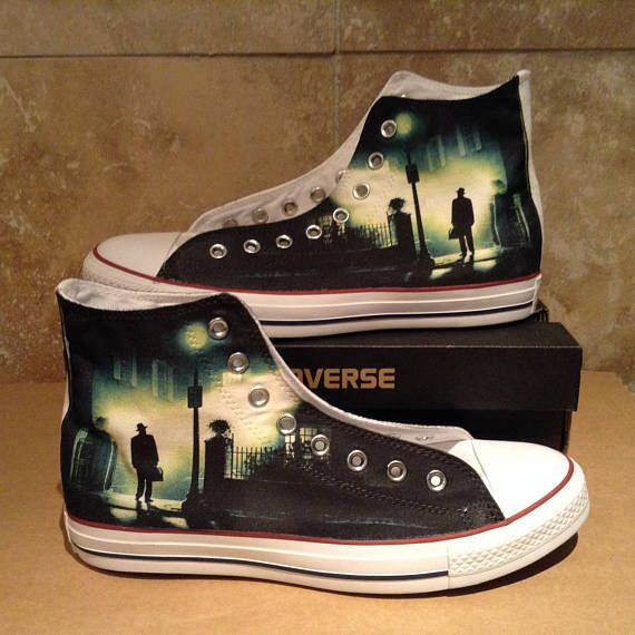 dee677d1d777 Exorcist horror scary cult movie design custom converse high. Find this Pin  and more on Horror movie shoes ...