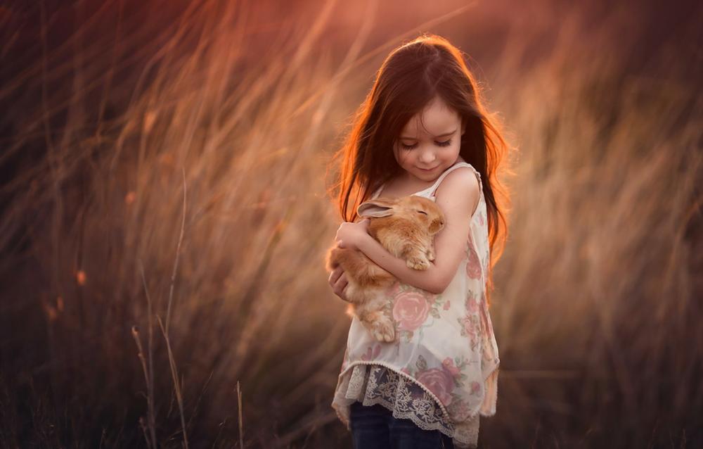 Девочка с кроликами картинки, картинка