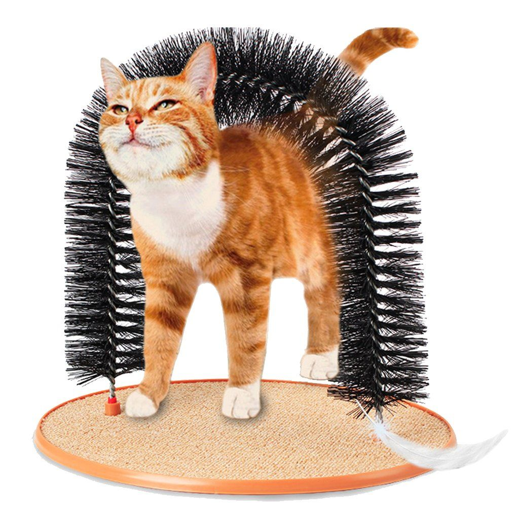 Pet Cat Brush Cat Massager Good Arch Pet Cat Self Groomer With Round Fleece Base Cat Toy Brush Toys For Pets Scratching Black Cat Toys Cat Grooming Pets