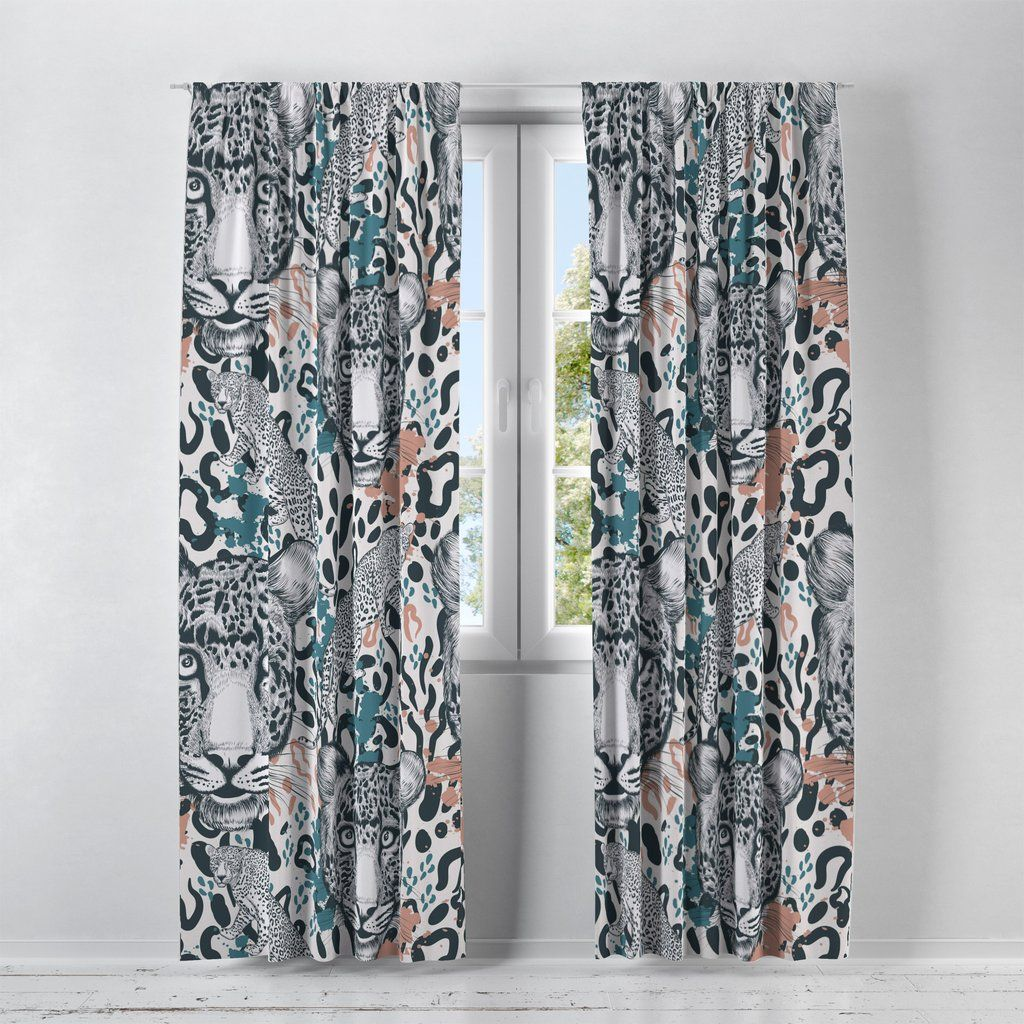 Leopard Print Window Curtains In 2020 Curtains Window Curtains