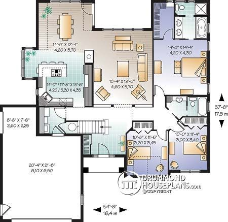 House plan W3246 detail from DrummondHousePlans Házak