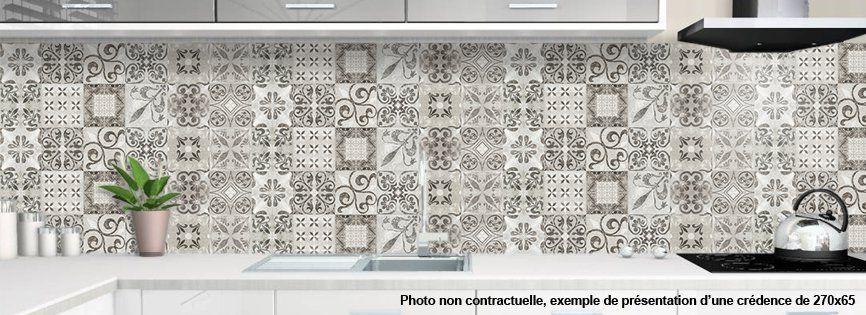 cr dence de cuisine sur mesure motif carreaux de ciment. Black Bedroom Furniture Sets. Home Design Ideas