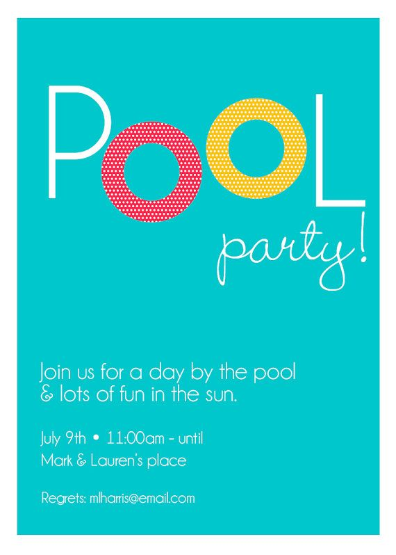 Pool Party Invite By Thepinwheelpress On Etsy Pool Party