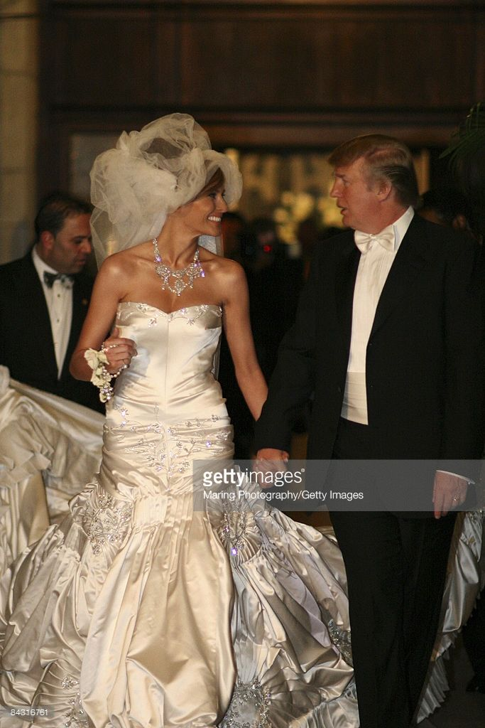 The wedding of donald trump sr and melania trump at the for Melania trump wedding dress